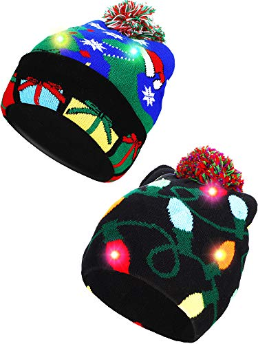 SATINIOR 2 Pieces Christmas LED Light up Beanie Hats Ugly Sweater Knit Hats for Christmas Party (Blue Christmas Tree, String Light)