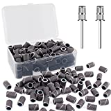 240# professional nail sanding bands for nail drill,drill sanding band with storage box,include 100 superfine grinding wheel sand bands and 2 pieces mandrel for most size 3/32' nail drill machine
