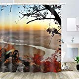 OiArt Shower Curtain, Polyester Fabric Waterproof Hooks Included-72x72 inches- Chattanooga Tennessee City Cities Urban View HDR
