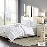 Intelligent Design Waterfall Comforter Reversible Solid Lush Ruffled Stripe Shabby Chic Ultra Soft Microfiber Down Alternative Pleated Decor Pillow Bedding Set, Full/Queen, White, 5 Piece