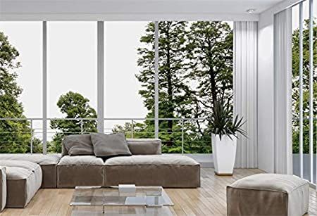 YongFoto 8x6ft Indoor Room Backdrop Green Pine Trees French Window Sofa Modern Design Photography Background Party Theme Banner Family Home Room Decor Vinyl Poster Portrait Photo Studio