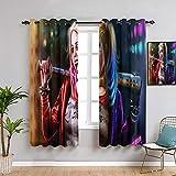 QIAOQIAOLO Harley Quinn - Cortina aislada para sombreado, 213,4 cm de largo, Harley Quinn para sala de estar o dormitorio (108 x 84 pulgadas)