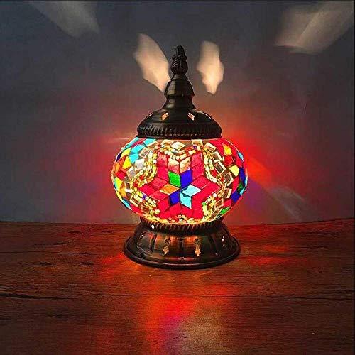 MQJ Lámpara de Mesa de Mosaico a Mano Turca, Lámpara de Escritorio Decorativa Acristalada, Luz de Noche, Apto para Sala de Estar Dormitorio Restaurante Cafetería Hotel,E