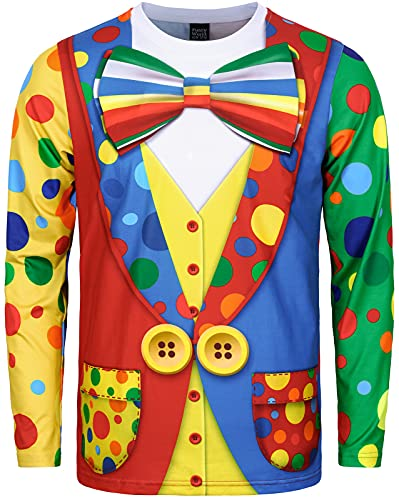 Funny World Men's Clown Costume Jester Outfit T-Shirts, Long Sleeve, X-Large