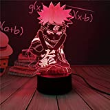 Lámpara Naruto Goku 3D, luz nocturna, lámpara de escritorio LED, táctil, alimentación USB multicolor, como luces decorativas para niños, niñas, niños, bebés