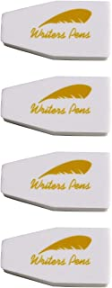 4pcs Pencil Erasers White Rubber Bevelled Sharp Edges for Concise Erasing by Writers Pens