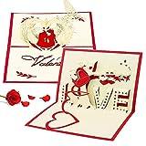 Biglietto Pop Up 3D CHEPL 2 Pezzi 3D Biglietto d'Auguri Matrimonio Biglietto d'auguri Laser Tagliata, con Busta per San Valentino, Anniversario, Compleanno