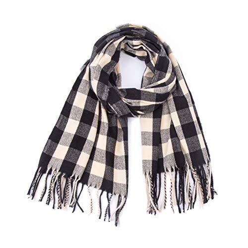 Memefood Bufanda larga de invierno cálida y suave para mujer, mantón de tela escocesa, 200 x 60 cm