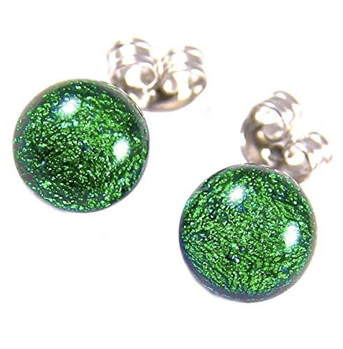 Tiny DICHROIC Glass Post EARRINGS 1/4