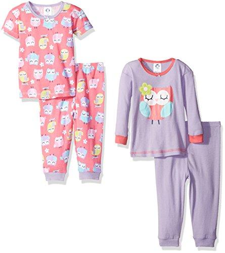 Gerber Baby Girls' 4-Piece Pajama Set, Owls, 12 Months