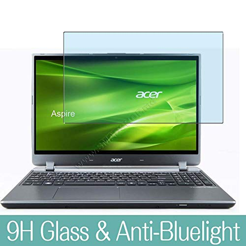 Synvy Anti Blue Light Tempered Glass Screen Protector for ACER Aspire M5-582pt 15.6' Visible Area 9H Protective Screen Film Protectors (Not Full Coverage)
