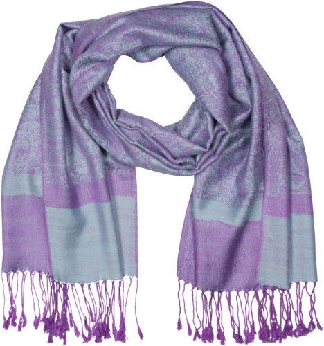 Sakkas Paisley Selbst-Design Schal/Wrap/Stole - Stahl Blau/Lila Paisley