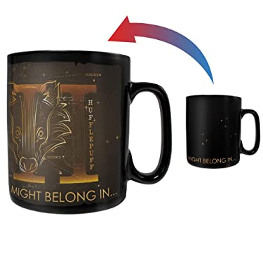 Morphing Mugs Harry Potter – Celestial Hogwarts Houses – Hufflepuff – Sorting Hat – 16 oz Large Ceramic Heat Sensitive Clue Mug – Full Image Revealed When HOT Liquid is Added