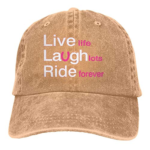 Men's/Women's Live Laugh Ride Yarn-Dyed Denim Baseball Cap Adjustable Dad Hat