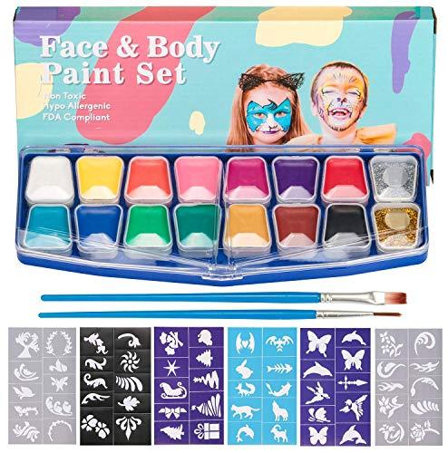HENMI pintura facial, 14 colores, 2 brillos, 2 pinceles, kit de pintura...