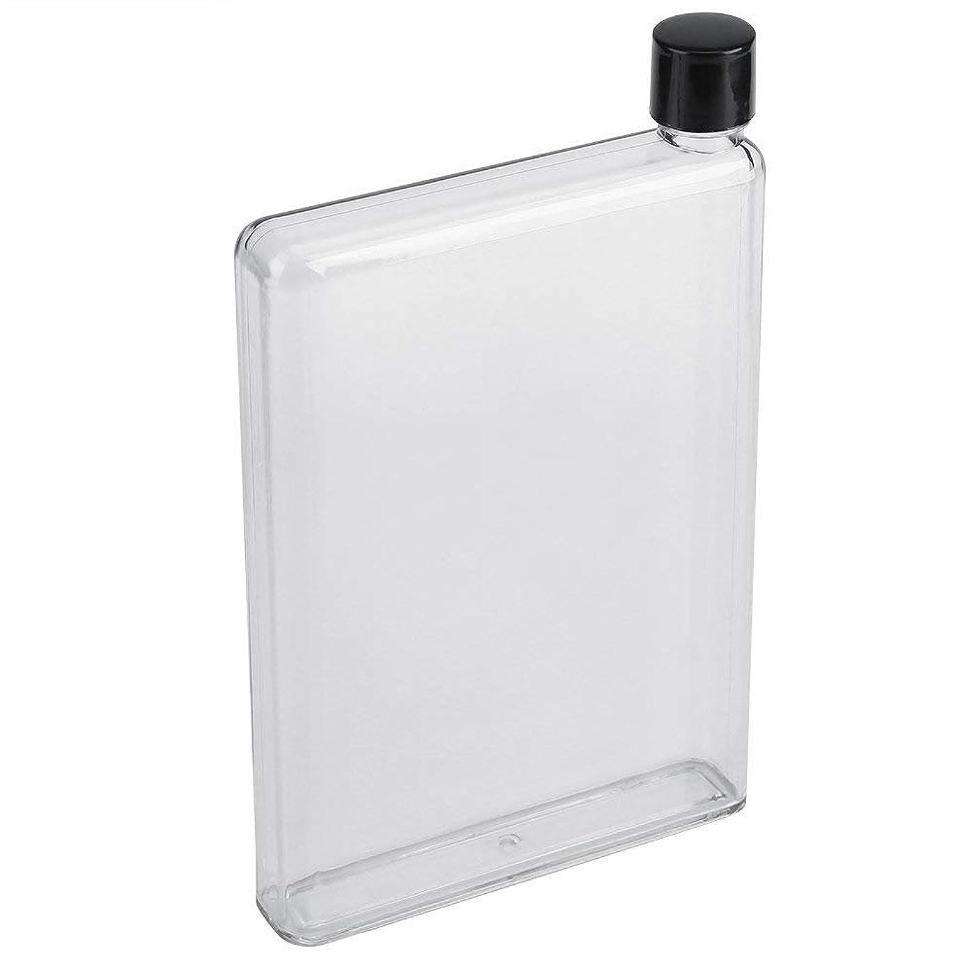 バックアップ確執レバーノート型ボトル - BESTGIFT 薄い水筒、漏れ防止、軽量、透明/ピンク、A5サイズ、420ml (透明)