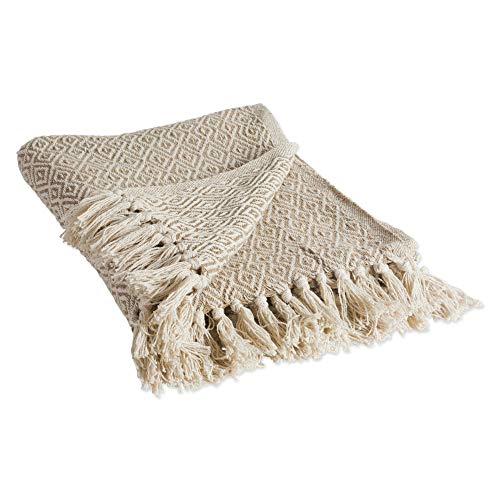DII Rustic Farmhouse Cotton Diamond Blanket Throw with Fringe For Chair, Couch, Picnic, Camping, Beach, & Everyday Use , 50 x 60' - Double Diamond Stone