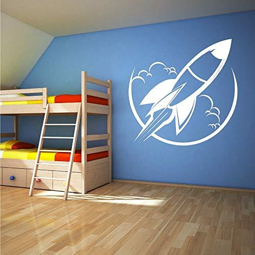 YuanMinglu Kinderzimmer Dekoration abnehmbare Vinyl Spielzeug Raumschiff Rakete Wandtattoos Home Vinyl Wandkunst Aufkleber schwarz 57x56cm