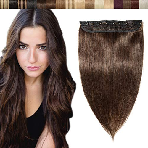 Clip in Hair Extensions Echthaar Haarverlängerungen Kopf Haar Verlängerungen 5 Clips ein Tresse Dunkelbraun#2 20