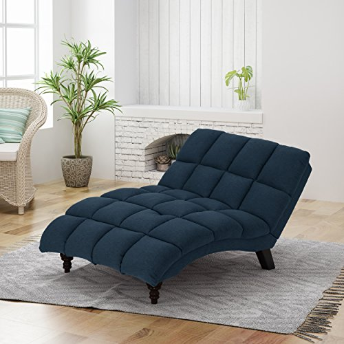 Christopher Knight Home Kaniel Traditional Tufted Fabric Double Chaise, Navy Blue / Dark Espresso