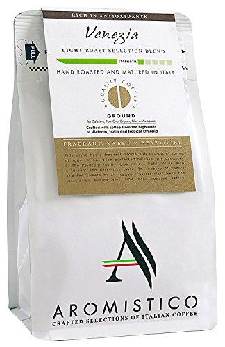 AROMISTICO |Intensive Crema Hellblonde Roestung |Premium italienischer gemahlener Kaffee | VENEZIA BLEND |Duftende, süße Beerige Cafetiere, Filterkaffee, Espressokanne, Aeropress