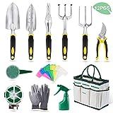 YISSVIC Gartenwerkzeug Set 12-teiliges Gartengeräte Set Gartenschere Gartenhandschuhe Gartentasche und Garten-Sprüher aus Edelstahl Gelb(Verpackung MEHRWEG)