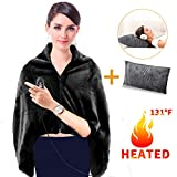GMAYOO USB Heated Warm Shawl, Valentine's Day Gift, Plush Heated Throw Blanket with Pillowcase, Heated Cape Heating Lap Blanket as a Pillow, Electric Flannel Blanket 46x35 Inch (Black)