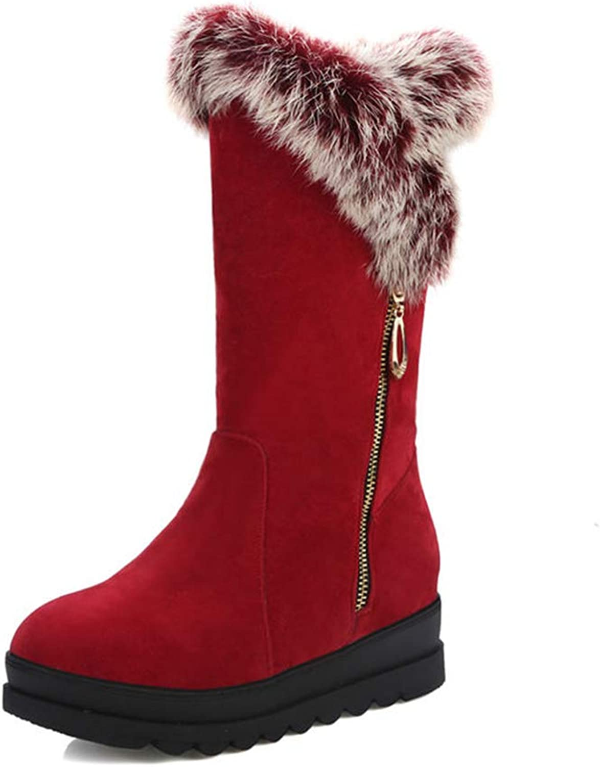 Hoxekle Woman Mid Calf Boots Fur Winter Thick Platform Zipper Decoration Warm Short Plush Girl Snow Boots shoes