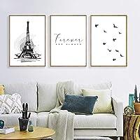 黒と白の風景のポスターとプリントウォールアートピクチャータワーリビングルームの家の装飾のためのモダンなキャンバスの壁の絵-40x60cmフレームなし
