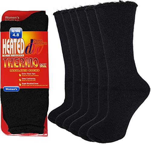Debra Weitzner Thermal Socks For Men and Women Heated Winter Socks Insulated for Cold Weathers 6 Pack