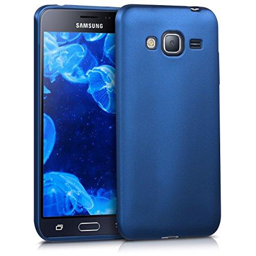 kwmobile Hülle kompatibel mit Samsung Galaxy J3 (2016) DUOS - Hülle Silikon metallisch schimmernd - Handyhülle Metallic Blau