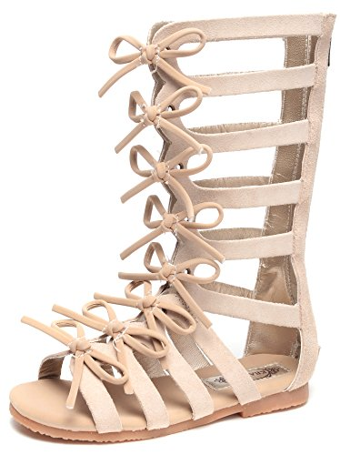 Zipper Bowknot Strappy Knee-High Gladiator Sandals