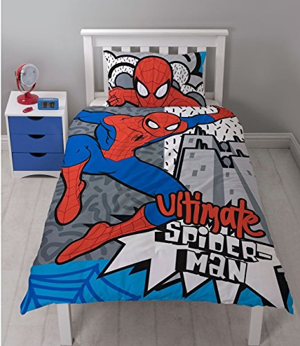 Spiderman Ultimate Duvet Cover Set, Polyester-Cotton, White, Single