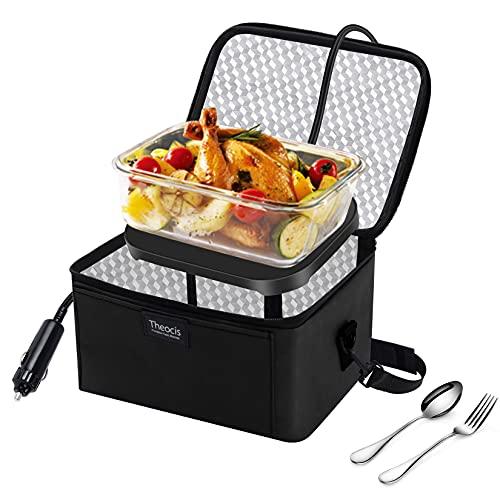 Calentador de alimentos portátil Microondas personal Caja de almuerzo Bolsa de comida Recalentar las sobras de alimentos crudos 12V para coche que acampa al aire libre (negro)