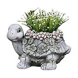FFAN Jardinera, Jardinera de Flores de Tortuga con diseño de Piedra rústica Peculiar, Estilo de jardín novedoso, Maceta para jardín de casa, 39 25 cm Good Life