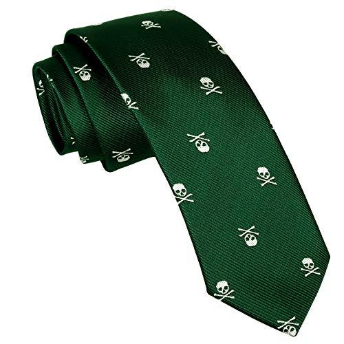 Alizeal Calavera–Corbata Estrecha para Hombre Verde Oscuro