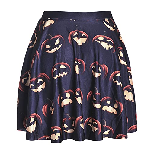 DRAGONHOO Women's School Uniform Mini Skirts Women Halloween Printed Jack-O-Lantern Skirt Night Out Skirt Black