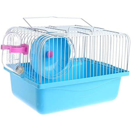 gutongyuan Pet Hamster Cage with Running Wheel Water Bottle Food Basin Portable Carrier House Mice Home Habitat for Going Out, Traveling