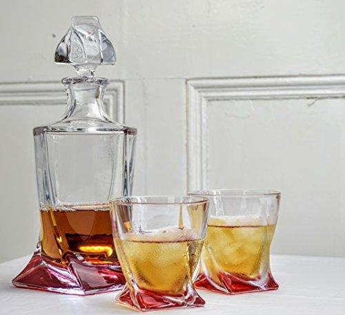 Chilly rojo cristal decantador 850ml & 2x 340ml vaso Set | Bohemia Quadro