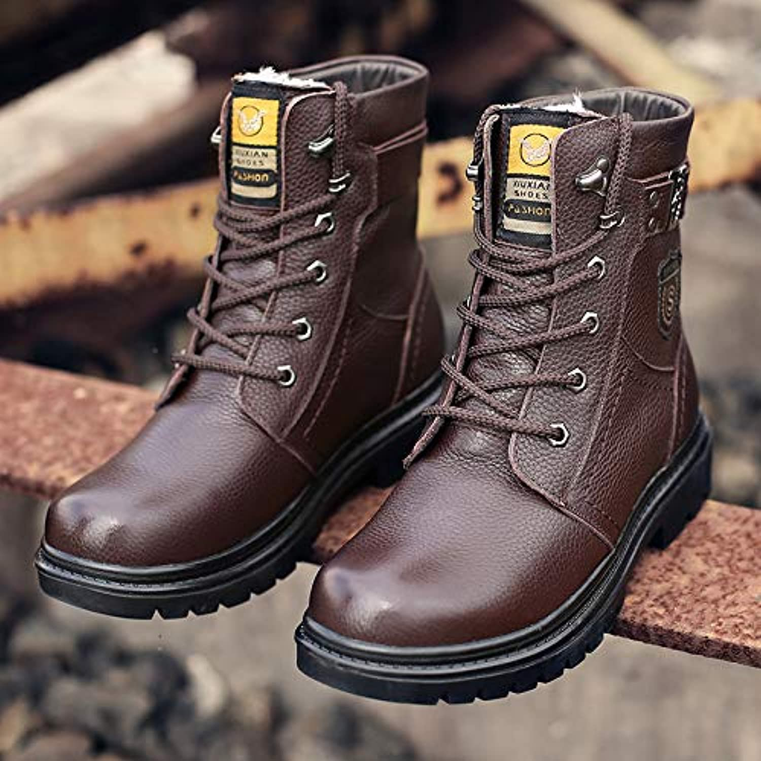 LOVDRAM Boots Men's Winter New Men'S Leather Martin Boots Men'S Commando Men'S Boots Men'S Leather Boots High Boots