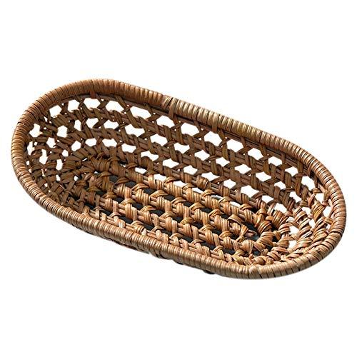 Immagazzinaggio del rattan Vassoio di tè Pane Tavolino di servizio Basket, Woven Vassoio, decorazione domestica (Color : Coffee color)