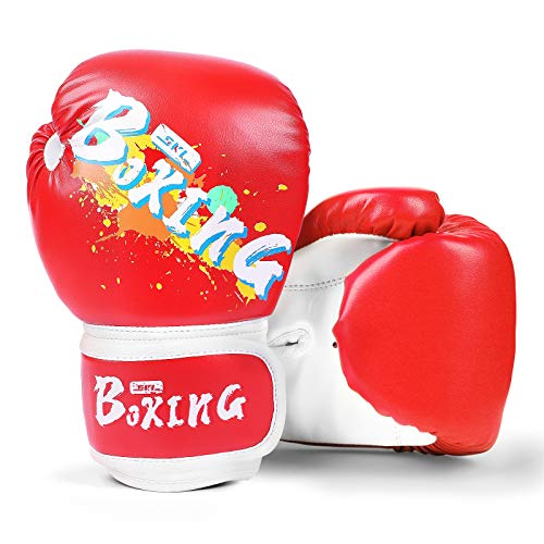 SKL Boxhandschuhe Kinder Boxing Gloves Kids Punchinghandschuhe aus PU Training Muay Thai für Sparring, Kickboxen, Kampfsport, Boxsack Punching, Fitness, Sandsack rot
