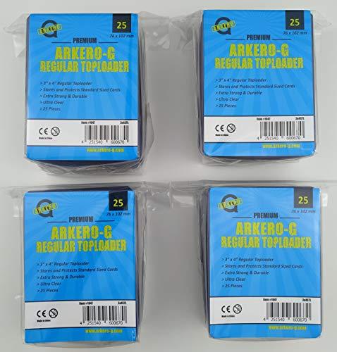 Arkero-G® 100 Regular Toploader 3'' x 4'' Schutzhüllen für Standard und Small Sammel-Karten z.B. Pokemon, MTG Magic, Yugioh Trading Card Game Spiele