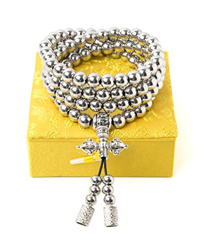 penixon Self Defence 108 Buddha Beads Necklace Chain (Full Stainless Steel)