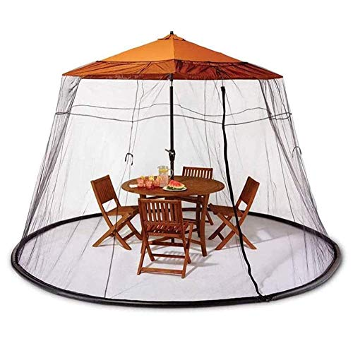 Nfudishpu Umbrella Net, Umbrella Cover Mosquito Netting, Parasol Mosquito Net Cover, Polyester Mesh Netting, with Zipper Opening, Helps Protect from Mosquitoes, Black