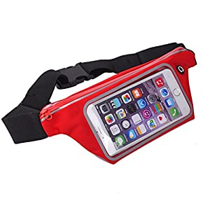 KING OF FLASH Sweatproof [Red] Sports Running, Jogging, Marathon Fanny Pack Bum Waist Bag Phone Carrier Belt with Transparent Touch Screen Window for Mobile Smartphones Upto 4.7