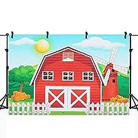 Sndy 写真の背景写真スタジオの小道具漫画赤い農場の動物の誕生日パーティーの背景-M