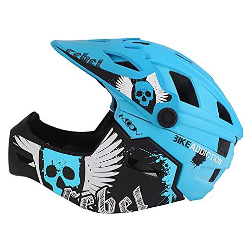 HUSTLE Casco de Bicicleta para niños cómodo y Ajustable para Patinar para BMX Ciclismo monopatín Scooter Deportes al Aire Libre para niños Equipo de protección para niños,Azul,M