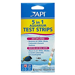 API 5-IN-1 TEST STRIPS Freshwater and Saltwater Aquarium Test Strips 4-Count Box