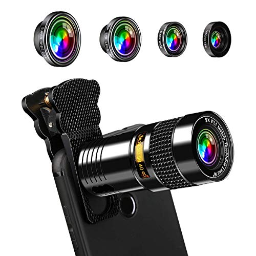 AFAITH 5 in 1 Lens Clip Op Telefoon Camera Lens Kit 9X Telefoon Zoom Lens+180 Degree Fisheye+Super Wide 0.4X+ 0.63X Wide en Macro Lens voor iPhone 7/7 Plus /6s/6/5, Samsung S7/S7 Edge
